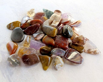 Random Assortment of Jasper and Misc. Polished Tumbled Stone Chips (40 Grams) (NS540)