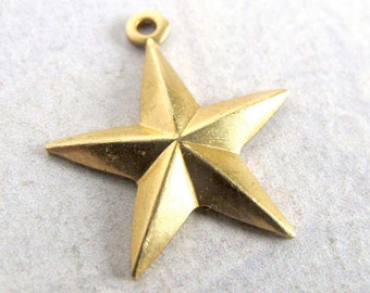 Brass Nautical Star Charms (16X) (M628)