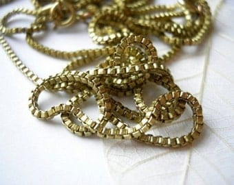 Vintage Raw Brass Italian Style Box Chain Necklaces (4X) (20 inches) (C513)