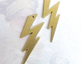 Brass Lightning Bolt Engraving Pendants (4X) (M785)