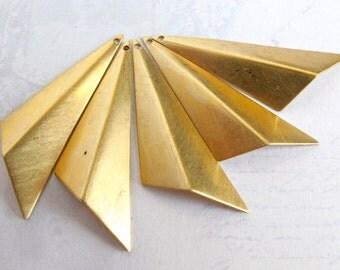 Brass Geometric Obtuse Triangle Drop Pendants - Right (4X) (M671-A)