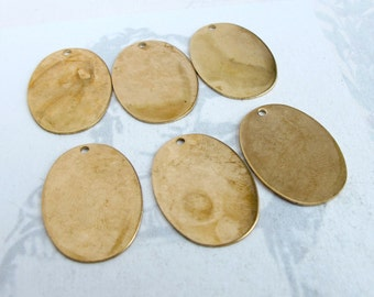 LOW Stock - Brass Oval Engraving Charms (6X) (M748-A)