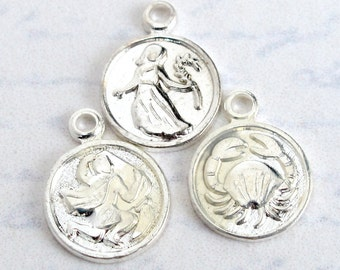 Vintage Silver Plated Astrological Charms (16X) (V356)
