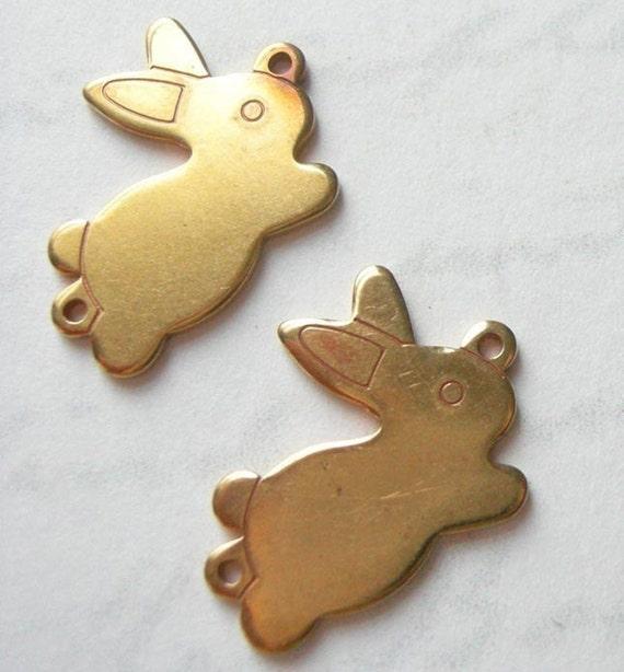 Vintage Raw Brass Bunny Charms (2X) (M558)