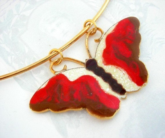 Last Set - Vintage Enamel Butterfly Necklace on Gold Plated Memory Wire (E586)