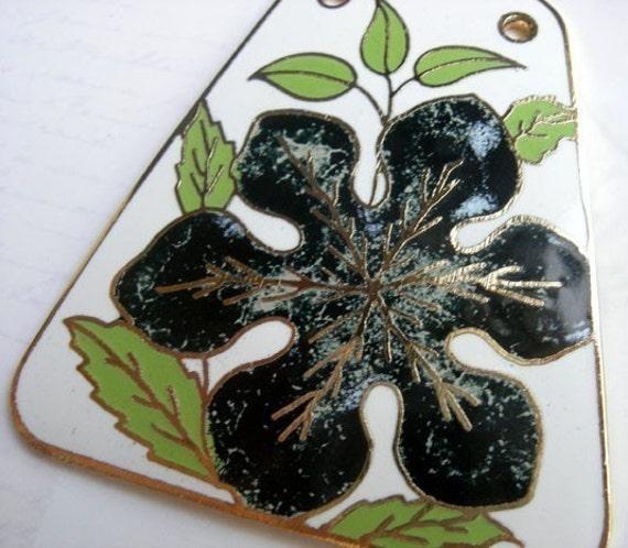 LAST one - Huge Vintage Spring Enamel Flower Pendant (E517)