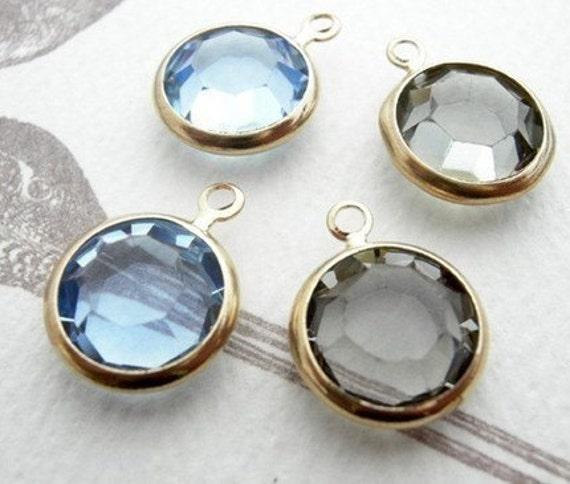 Last Set t- Vtg Black Diamond and Light Sapphire Swarovski Rhinestone Crystal Channel Charms (15mm) (x4) (2 ech color) (S500)