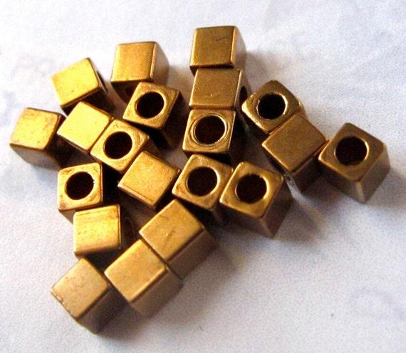 Vintage Brass Tiny Cube Beads (20X) (V440)