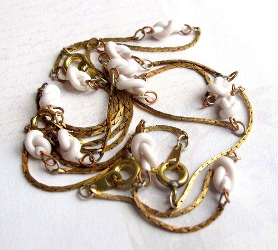 Last Set- Vintage Brass Foxtail Bracelets With Enamel Knot Connectors (4X) (C633)