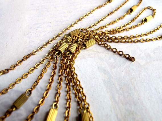 LAST Set - Vintage Flat Brass Cable Chain With Textured Brass Cylindar Beads (3 Feet) (C540)