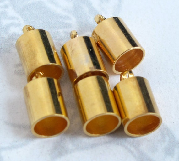 Gold Plated End Cap Findings (10X) (F520)