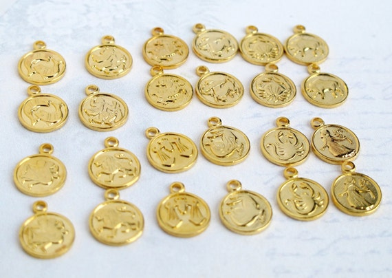 LAST Set - Vintage Gold Plated Astrological Charms (24X) (M815) - 25% discount