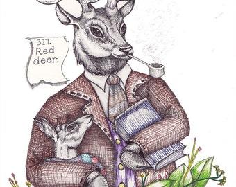 Deer Stag Art - Deer Print - Deer Illustration - Anthropomorphic Deer