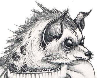 HYENA Art - Hyena Illustration - Hyena Print - Anthropomorphic Hyena