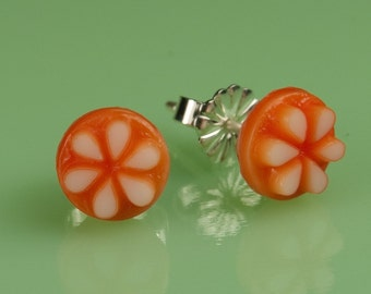 Vintage Small Lucite Orange with White Flower Button Post Earrings