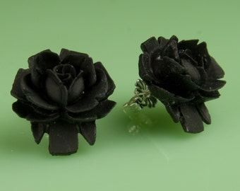 Vintage Black Lucite Rose Button Post Earrings