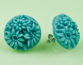 Vintage Blue Flower Post Earrings