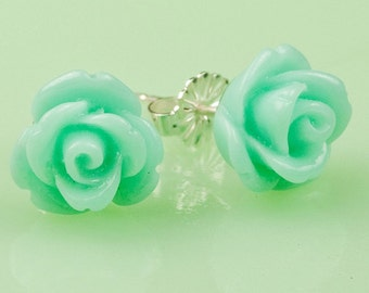 Teal  Rose Button Post Earrings