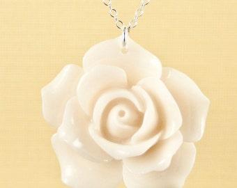 Vintage Large Ivory Rose Necklace