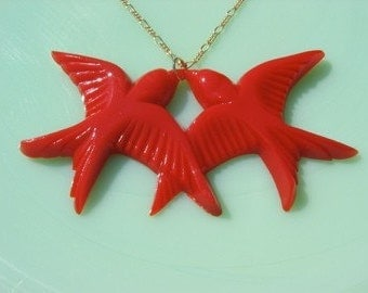 Vintage Red Celluloid Bird Necklace