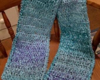 Blue Lagoon crocheted scarf