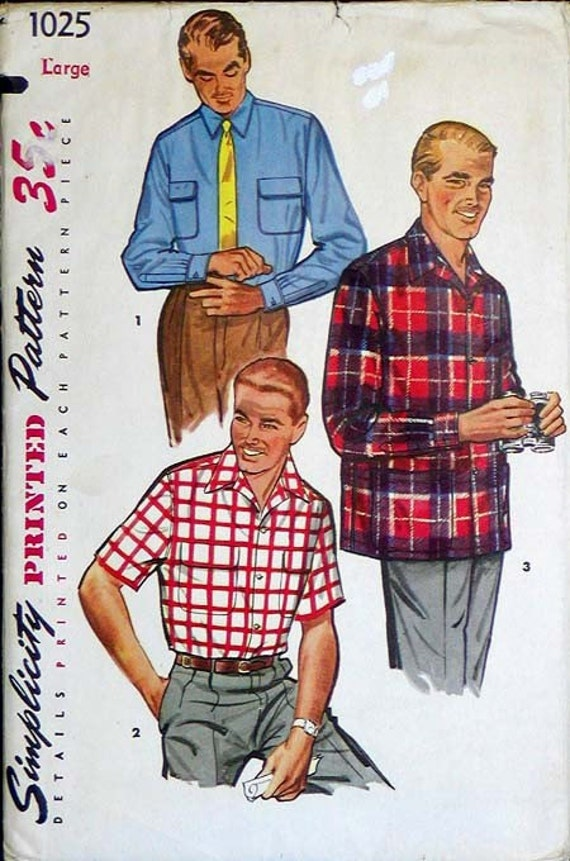 Uncut 1950s/60s MENS PATTERN Classic Sports Shirt VINTAGE Sewing Size L Simplicity 1025