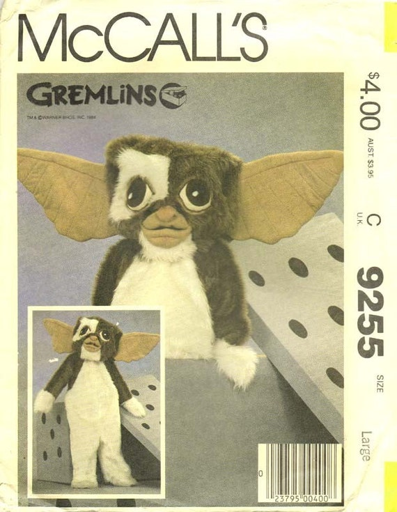 Uncut 1984 Boys/Girls GREMLIN GIZMO COSTUME Sewing Pattern Size Large McCall's 9255