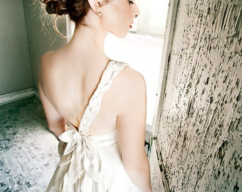 Aster Eco Silk/Hemp Wedding Gown, Cut Petal Motif