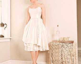 Larkspur Eco Wedding Gown, Short with Mini Ruffles, Low Back Strapless