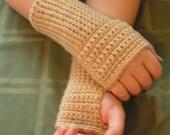 Coffee Cream fingerless mittens