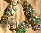 Turquoise, White and Beige Shells and Ocean Charms Silver Bracelet