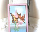 Vintage Playing Cards Butterfly with Pink Border (Pack of 4)