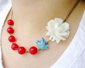 Sweet  Nautical Birdie Gardens (Free matching earrings)(RESERVED)
