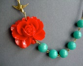 Bridesmaid Jewelry Set,Red Flower Necklace,Red Floral Necklace,Aqua Necklace,Red Necklace,Bridesmaid Necklace,Bridesmaid Gift,Gift For Her