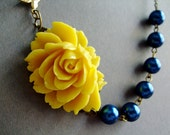 Statement Necklace,Yellow Floral Necklace,Yellow Flower Necklace,Yellow Necklace,Navy Blue Necklace,Bridesmaid Necklace,Nautical Necklace