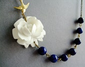 White Flower Necklace,White Floral Necklace,Flower Necklace,Navy Blue Necklace,White Necklace,Bridesmaid Necklace,Nautical Necklace,Gift