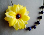 Statement Necklace,Yellow Sunflower Necklace,Floral Necklace,Yellow Necklace,Navy Blue Necklace,Bridesmaid Jewelry,Bridesmaid Gift,Gift Her