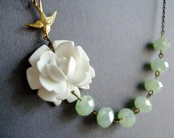Wedding Necklace,Wedding Jewelry Set,White Rose Flower Necklace,White Flower Necklace,Mint Necklace,Flower Necklace,White Necklace,Gift