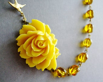 Statement Necklace,Yellow Flower Necklace,Yellow Necklace,Amber Necklace,Bridesmaid Necklace,Bridesmaid Jewelry Set,Yellow Jewelry,Gift