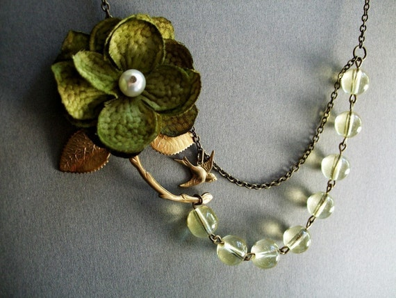 Arden Fabric Flower Necklace (Free matching earrings)-Free shipping-Coupon code (Cybershipping)