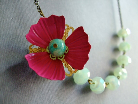 Vintage Necklace,Bridesmaid Jewelry,Retro Necklace,Flower Necklace,Mint Green Necklace,Magenta Necklace (Free matching earrings)