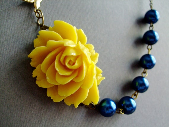 Statement Necklace,Yellow Flower Necklace,Navy Blue Necklace,Yellow Necklace,Bridesmaid Necklace,Nautical Necklace,Bridesmaid Gift,Gift Her