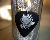 Black and Silver Hello Kitty Guitar Pick Necklace