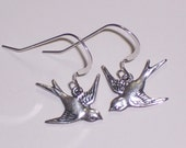Sparrow Bird Earrings on Sterling Silver Earwires and charming Birds