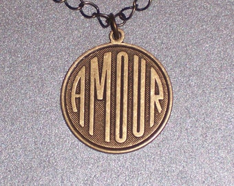French Love Charm AMOUR Pendant on Antiqued Brass Chain FREE Shipping To The USA