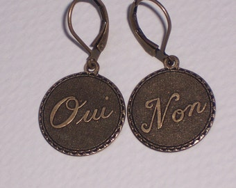 Oui Non  French Circle Disc Earrings on Antiqued Brass