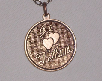 French Love  Necklace Je t'aime FREE SHIPPING To the USA Je taime Jewelry