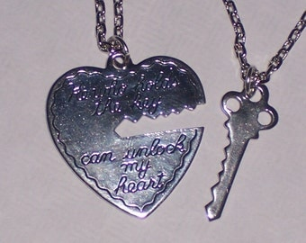 His and Hers Open Heart and Key Pendants on Antique Silver Chain Necklace HE Who Holds the Key Can Unlock MY HEART