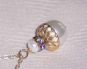 Cream Acorn Pendant on 14K Gold Filled Chain Chain FREE U.S. Shipping