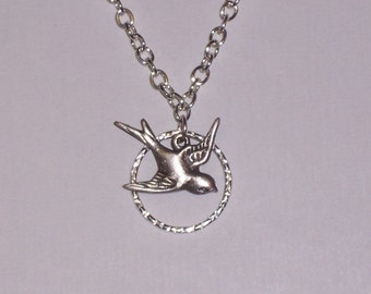 Sparrow Bird Necklace over a Sterling Hammered Circle and Sterling silver Chain FREE SHIPPING To The USA